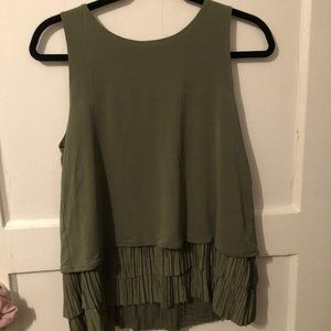 Olive green tank blouse from Banana Republic